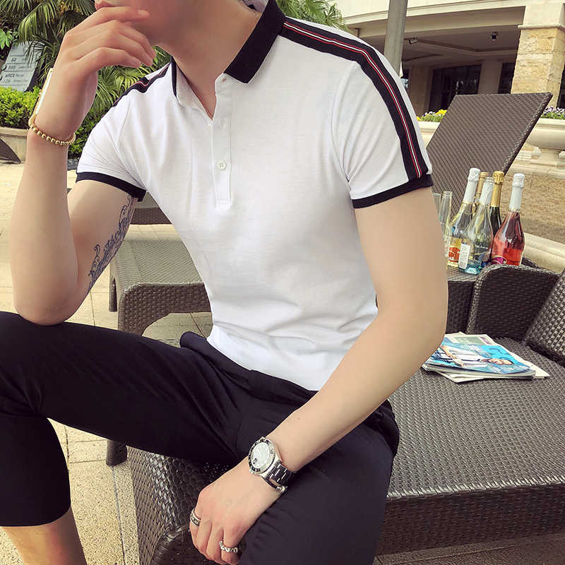 British Style Men Polo Shirt Summer Slim Fit Casual Social Polo Homme Turn Down Collar Short Sleeve Shoulder Stripe Design Polos