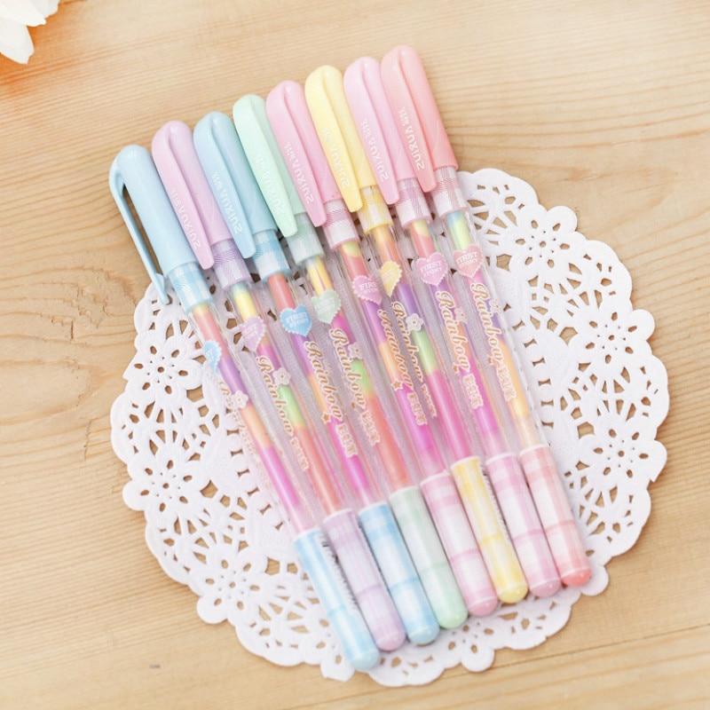 Creative Korea Style Stationery Beautiful Colorful Rainbow Gel Pens Fashion Office School Supplies Writing Pens Painting Pens