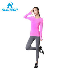 RODEX Yoga Рубашки Женщины Тренажерный Зал Спорт Фитнес Женщины Бег Одежда Для Женщин Твердые Длинным Рукавом Весна Осень База Рубашка Фитнес