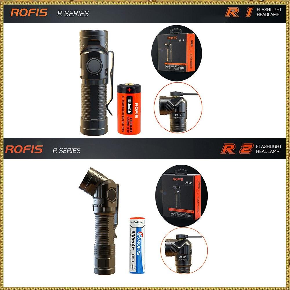 Rofis R1 16340/R2 14500/R3 18650 мини-фонарик CREE светодиодный регулируемый-глава фонарик Магнитная USB факел регулируемая головка
