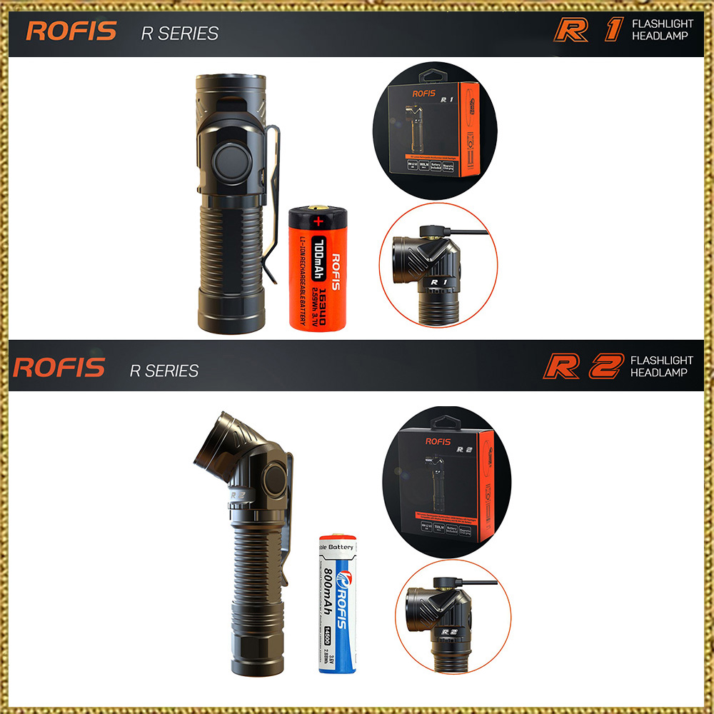 Rofis R1 16340/14500 R2/R3 18650 Mini Torcia CREE LED Orientabile-head Torcia Magnetica Torcia USB Testa regolabile