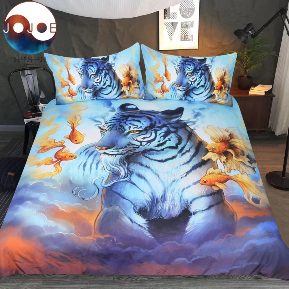 Dream by JoJoesArt Bedding Set Psychedelic Tiger Duvet Cover Goldfish In The Sky Bed Set Clouds Animal Bedclothes For AdultsDream by JoJoesArt Bedding Set Psychedelic Tiger Duvet Cover Goldfish In The Sky Bed Set Clouds Animal Bedclothes For Adults