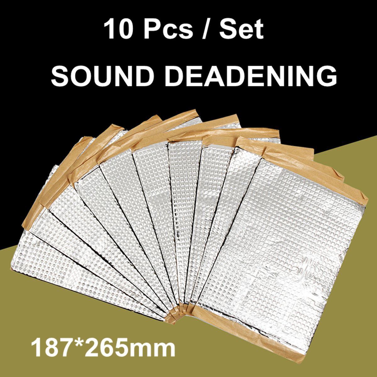 10 Pcs 2mm Automobiles Car Sound Deadener Deadening Vibration Sound Proofing Damping Mat Heat Noise Shield Insulation 187x265mm(China)