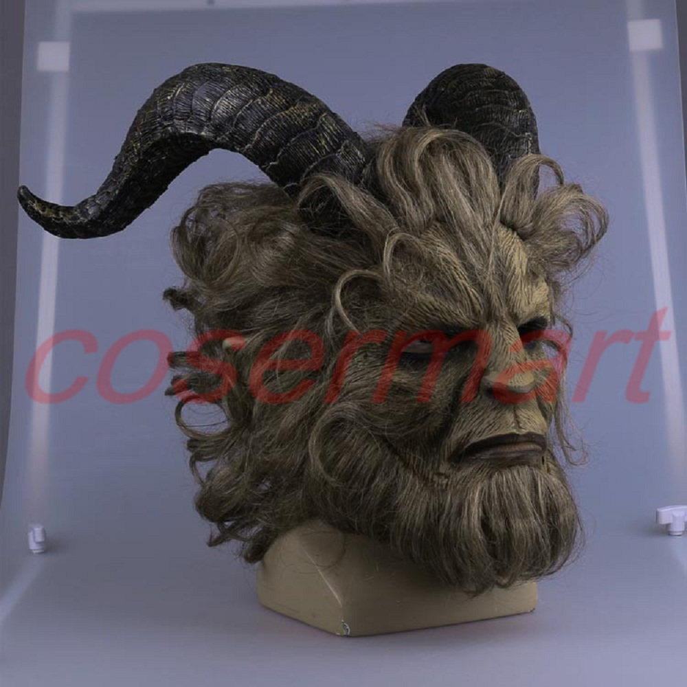 Cos Mask 2017 Hot Movie Beauty and the Beast Adam Prince Mask Cosplay Horror Mask Latex Helmet Halloween Party (3)