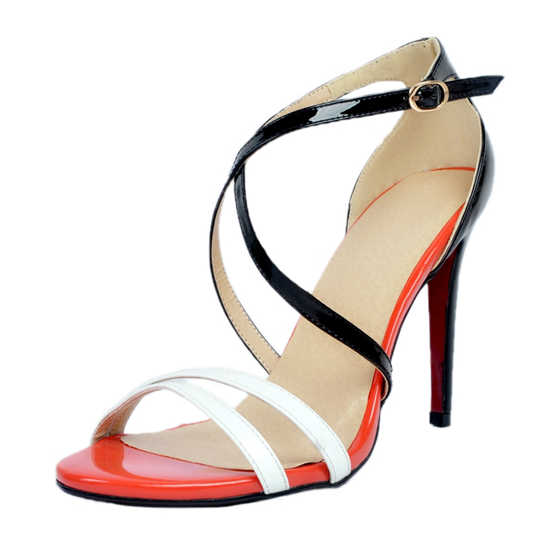 Simple Mix Color Women Sandals Cross Strap Open Toe Summer Shoes Ladies High Heels Plus Size Women Wedding Party Shoes sandals small open toe shoe 32 paillette bow 33 hasp high heeled shoes wedding shoes plus size women s shoes 43 free shiopping
