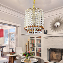 Modern Iron crystal gold European style E27 plated luster Chandelier LED 220V Lighting for living room kitchen bedroom hotel bar