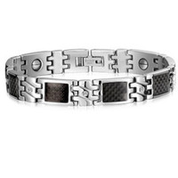 New Fashion Personality High Quality Titanium Steel Men S Health Magnetic Bracelet Wearing Black Stone Bracelet