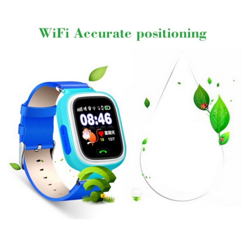 2018 Fashion Q90 GPS Phone Positioning Children Watch 1.22 inch Color Touch Screen WIFI SOS Smart Watchs