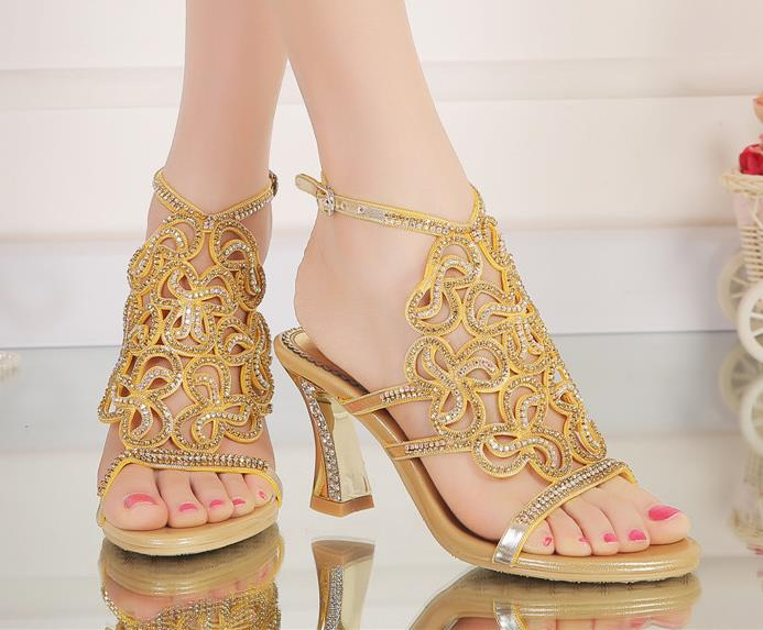 2016 summer high quality women sandals,ladies cashmere Fibers Thick with high heel shoes set auger peep-toe women's shoes pump