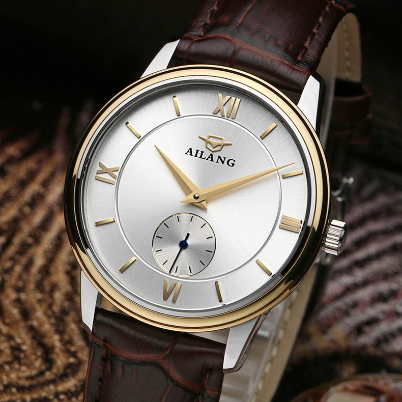 Elegant Business Designer Men Dress Watches Mechanical Real Leather Roman Number Dress Wrist watch Self Wind Analog Reloj W036 luxury women hand winding mechanical wrist watch genuine leather band strap dress wind up skeleton roman number stylish