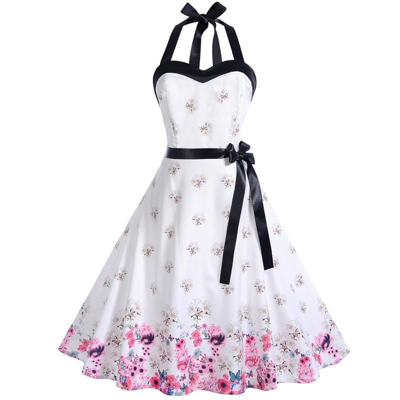 Koktejlové párty šaty viacfarebné vzorovaný lem sukne (6 variánt) 6