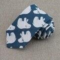 Algodón de lino impreso corbatas lazo de los hombres nuevos productos modernos osos polares ocio individual 7 cm corbata azul de alta calidad