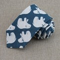 cotton linen printed ties men new modern polar bears individual leisure products 7 cm blue high quality necktie