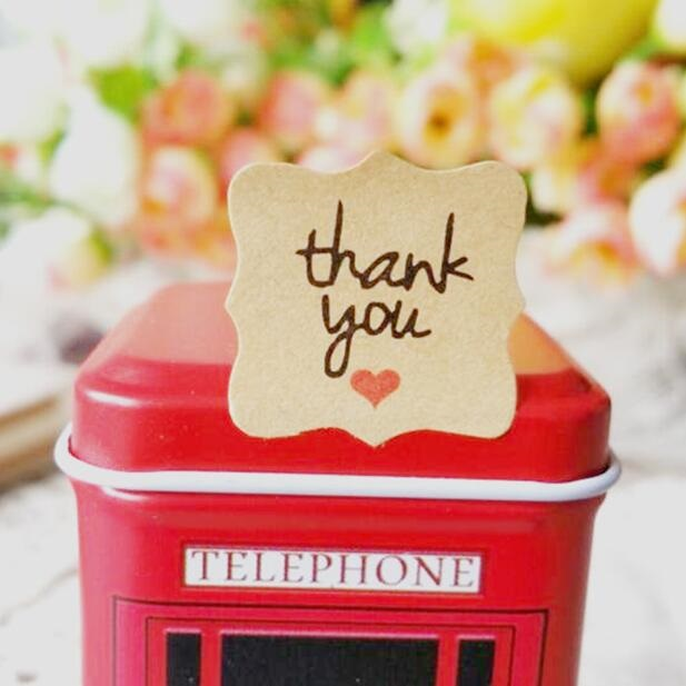 120pcs Thank you with red heartkraft paper seal stickers for handmade products DIY packaging label Adhesive Sticker цена