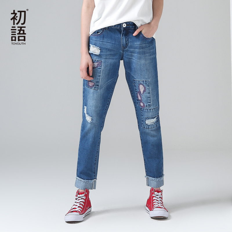 Toyouth 2017 Summer New Arrival Women Women Mid Waist Blue Pocket Ripped Patchwork Jeans Ankle Length Pants