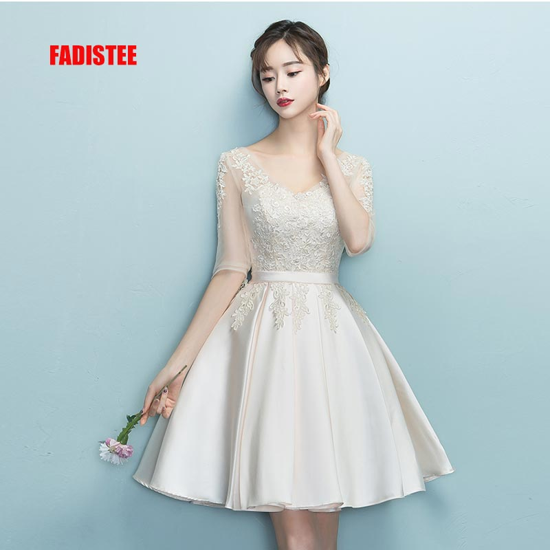 FADISTEE New Design A-line Short Dresses V-neck Cocktail Party Dress Lace Elagant Simple Lace-up Simple Modern Prom Party Frock
