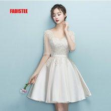 Fadistee 새로운 디자인 a 라인 짧은 드레스 v 목 칵테일 파티 드레스 레이스 elagant 간단한 레이스 업 간단한 현대 파티 파티 frock