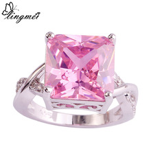 Fashion 925 Silver Princess Cut Pink Sapphire & White Ring Size 7 8 9 10 Love Style Jewelry Gift