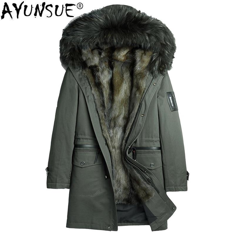 AYUNSUE Parka Homme Winter Jacket Men Natural Mink Fur Liner Coat Mens Raccoon Fur Collar Parkas Plus Size JLK1819-1807 MY1382