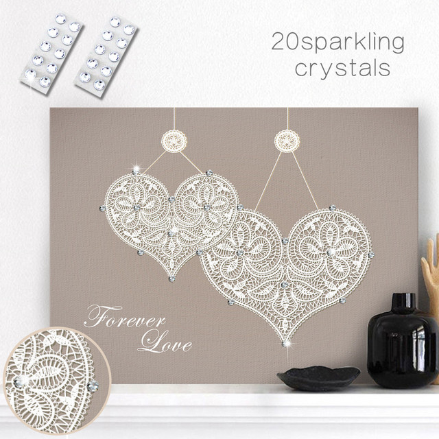 HAOCHU Crystal Canvas Painting DIY Heart Pretty Wall Art Diamonds Bling  Personalized Creative Handmade Picture Home Room Decor 2ad772caed49