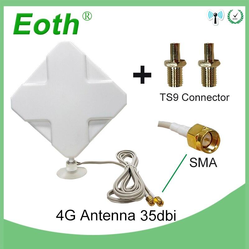 Eoth 3g 4g Antenne 35dBi 2 m Câble LTE Antena 2 * SMA connecteur pour 4g Modem routeur + Adaptateur SMA Femelle à TS9 Mâle connecteur
