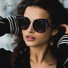 LongKeeper Retro Cat Eye Sunglasses Women Printing Letters Love Eyewear Steampunk Feminino Lunette Soleil 6933