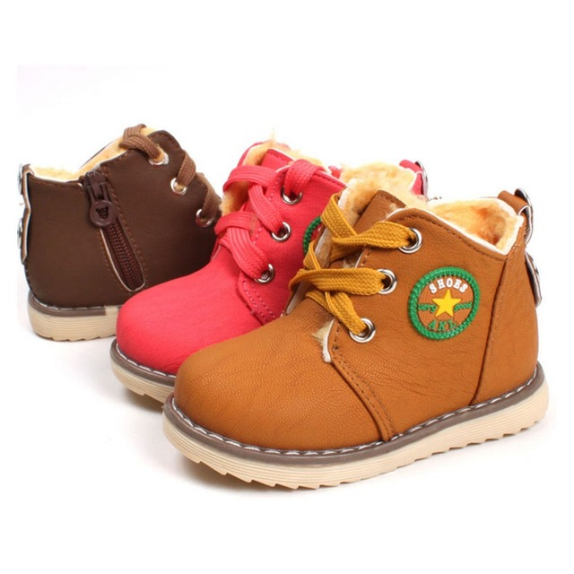 2016 New Winter Baby Girls Boys Causal Shoes Children Warm Martin Snow Boots Kids Leather Botas Lace-up Shoes 3 colors Avaliable