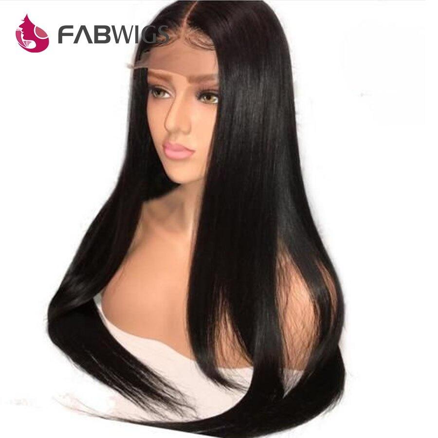 Fabwigs Малайзии шелковистые прямые Синтетические волосы на кружеве натуральные волосы парики 180% Плотность натуральные волосы парики для Для ...