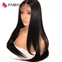 Fabwigs Malaysian Silky Straight Lace Front Human Hair Wigs 180% Density Human Hair Wigs FOR Women Natural Black Remy Hair