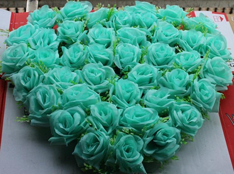 40x40cm Wedding Car Decoration Royal Blue Wedding Decoration Mint Green Flowers Silk Flower