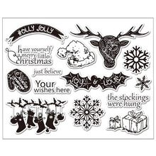 WISHMETYOU Vintage Deer Transparent Clear Silicone Stamps DIY Scrapbooking Christmas Wishes Gifts Snowflakes High Quality Seals