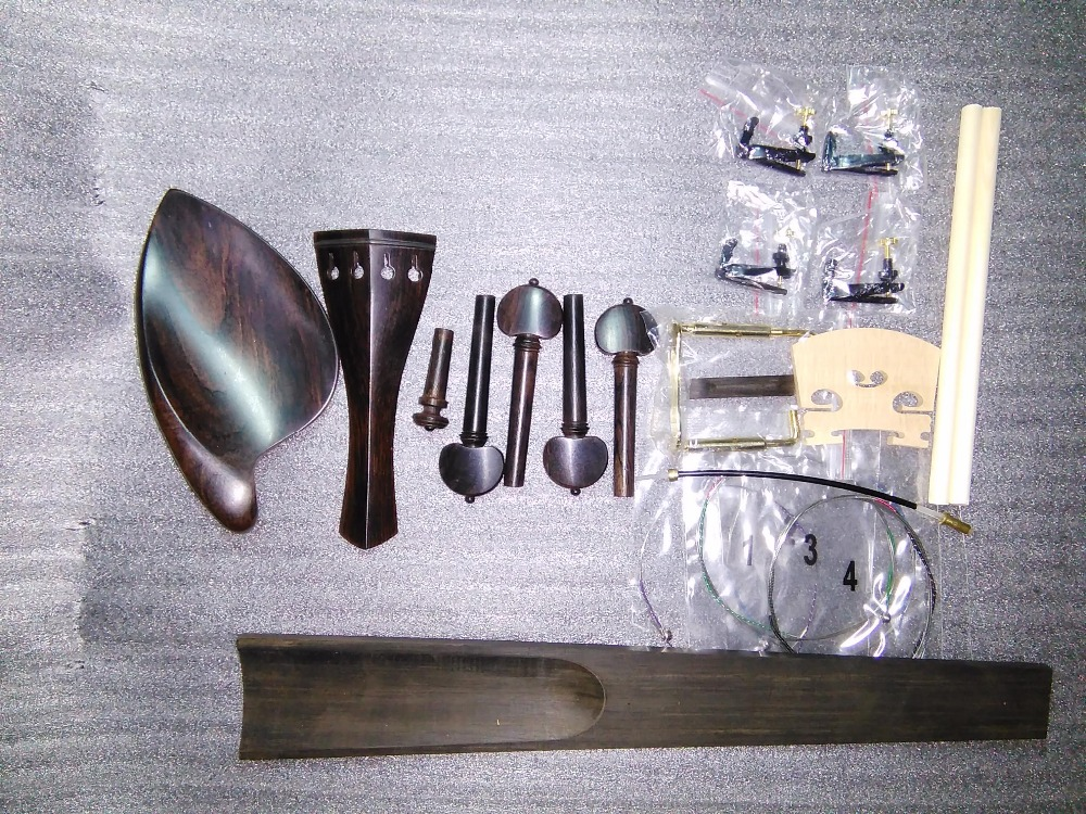 A Complete set of Original Color Ebony Violin Parts 4/4+4 tuner+string+bridge+2 post etc SF09 4 4 high quality 5 string electric violin yellow 2 pickup violin