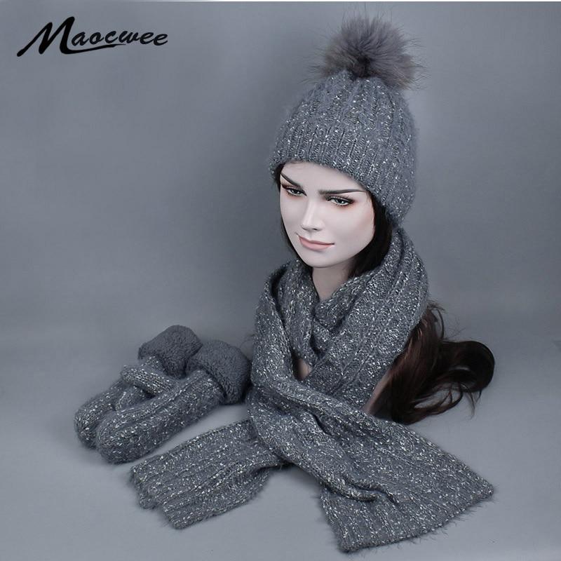 3 PCs Women's Winter Knitted Hat Cap Scarf Glove Girl's Fashion Twist Stripes Cap With Fur Pompoms Gorros Bonnet Gorros 2018