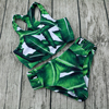 BLESSKISS High Neck Bikini Women Swimwear 2017 Hot Printed Green Leaf Bandage Swimsuit Bikini Set Bathing
