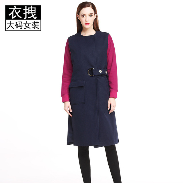 04e1544fbc8 Oversized Wool Coat With Quilting Winter Warm Trench Coats Navy Blue Long  Thick Women Wool Coats Plus Size 100kg Xxxxxl