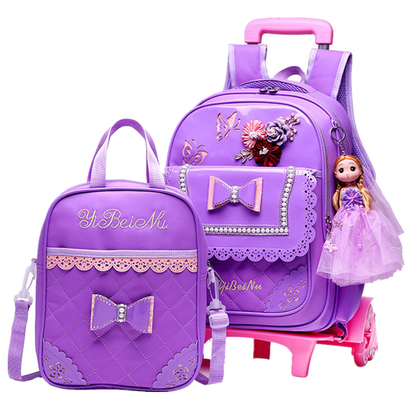 Children School bags Set with 2/6 Wheels Primary student trolley backpack Girls rolling luggage travel bag on wheels Bagpack 2 6 wheels children school bags students trolley backpack boys girls rolling luggage travel bag on wheels bagpack women bolsas