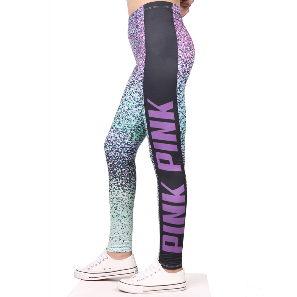 FCCEXIO Spring Leggings PINK Letter Printed Fitness Legging High Stretch Leggins High Waist Slim Sexy Legins Trouser Women Pants