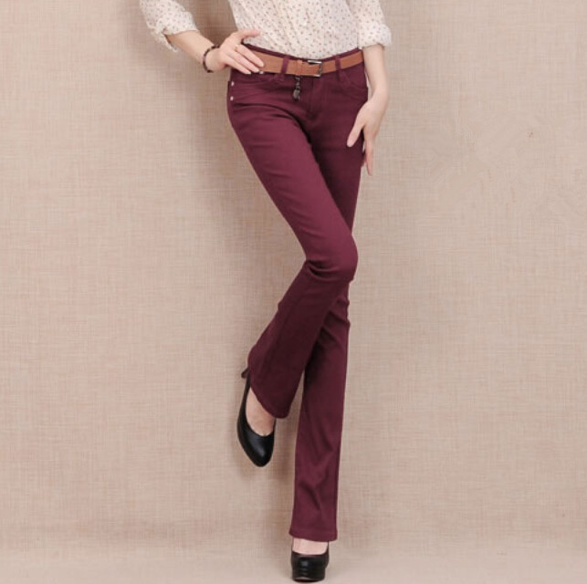 7 candy Color plus size denim skinny OL jeans Candy colored bell bottoms women overalls elastic