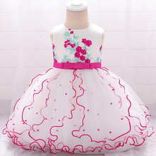 Summer 2019 Baby Girl Dress Beading Appliques Baptism Infant Dress for Birthday Party Embroidery Baby Girl Clothes vestido bebe цены