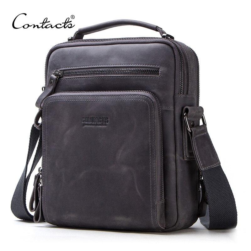 CONTACT'S vintage hommes sac à bandoulière de crazy horse & nubuck véritable sac de messager en cuir pour Ipad 9.7 mâle sac à main homme sacs en bandoulière