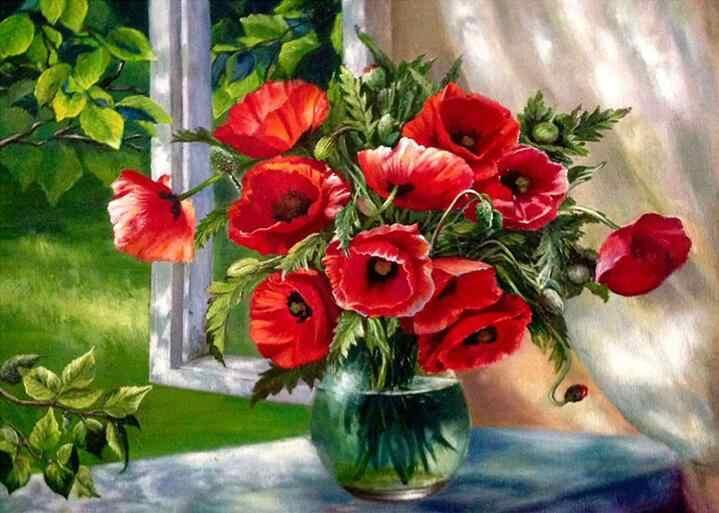 Układanie kwiatów 5D DIY kwiaty na płótnie diamentowym ściegiem krzyżykowym haftem diamentowym mozaika diamentowa naklejka dekoracyjna waza domowa