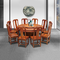 1.58M Hedgehog rosewood Round Table Set 10 Chair Solid Wood Armchair Desk Classic Red wooden Annatto Dining Room Furniture set