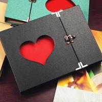 10 Inch handmade TỰ LÀM Hollow Love Album 30 tấm đen 3 nhẫn album ảnh bé phát triển gia đình ghi lại Khóa album Trẻ Em Món Quà