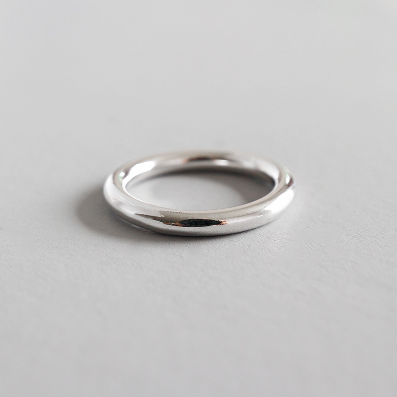 Minimalist 100% Authentic S990 Sterling Silver Fine Jewelry Rounded Ring Polished Finger Ring Glossy J92Minimalist 100% Authentic S990 Sterling Silver Fine Jewelry Rounded Ring Polished Finger Ring Glossy J92