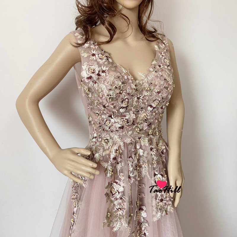 Taohill Real Made 2019 Lady Wedding Guest Dress Floral Applique Beads And Pearls Bean Paste Pink Long Bridesmaid Dress