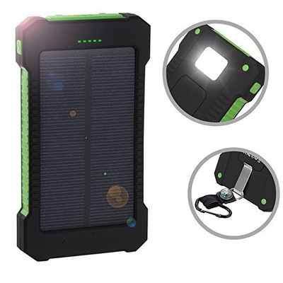 Solar Power Bank Waterproof 20000mAh Solar Charger 2 USB Ports External Charger Solar Po ...