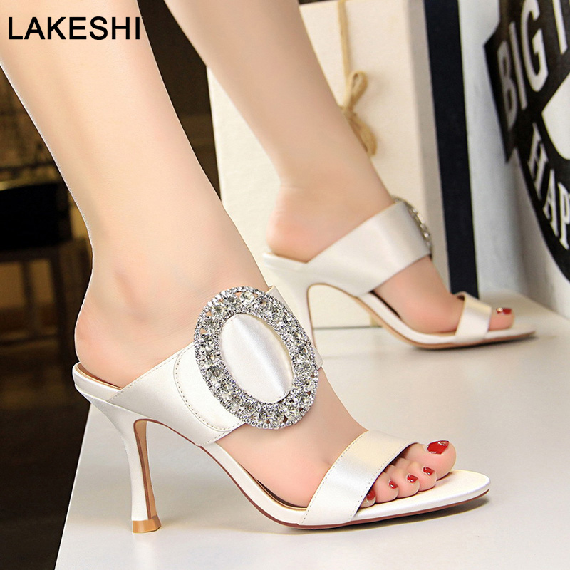 Bigtree Shoes Women Pumps 2019 Spring New High Heel Women Shoes White Summer Women Sandals Crystal Party Shoes Slippers Women