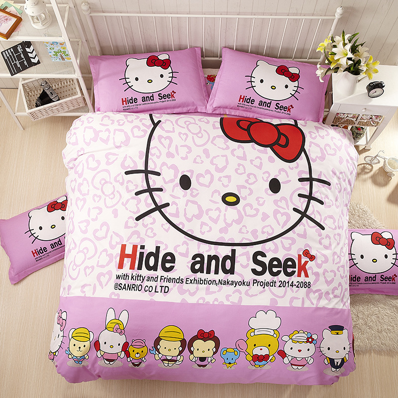 Children Cartoon Comforter Bedding Sets Hello Kitty theme 4pcs Queen size Bed Linen Set Home Satin Bed Sheets Printed Bedspread