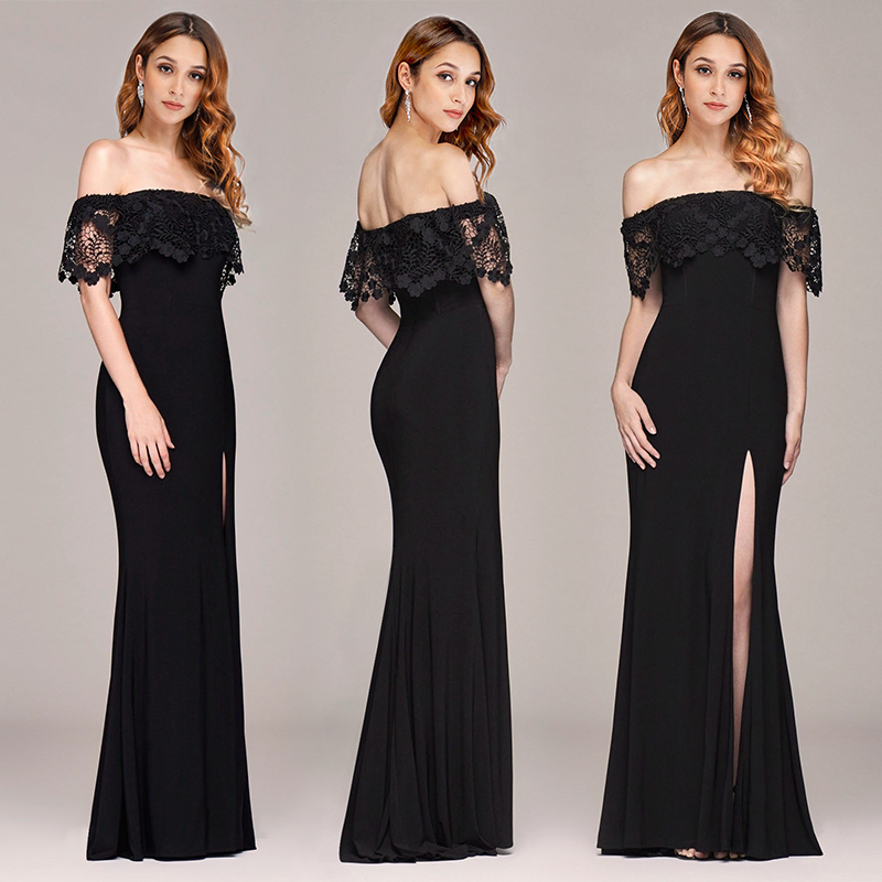 Ever Pretty   Prom     Dresses   2019 Off-Shoulder Lace Mermaid Leg Slit Sexy Vestido De Formatura Longo Cheap Evening Gowns for Women