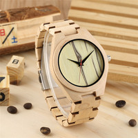 Fashion Simple Brown Wood Watch Tree Pattern Natural Wood Watches Pure Colour Luxury Brand Leather Quartz Watch Women Men Ladies